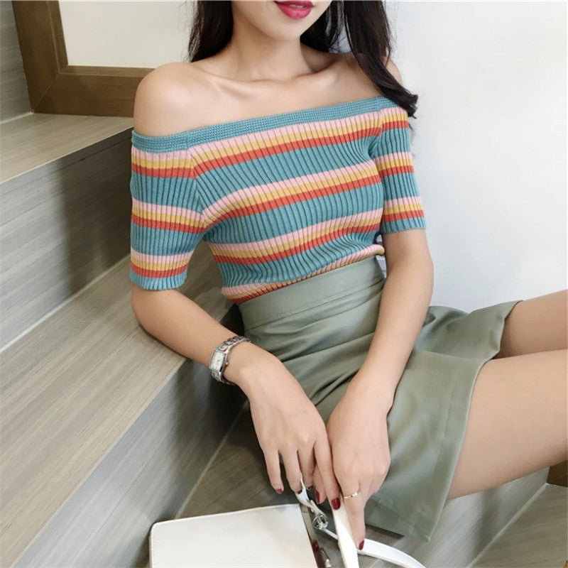 """RAINBOW STRIPE KNIT"" TOP K072401"