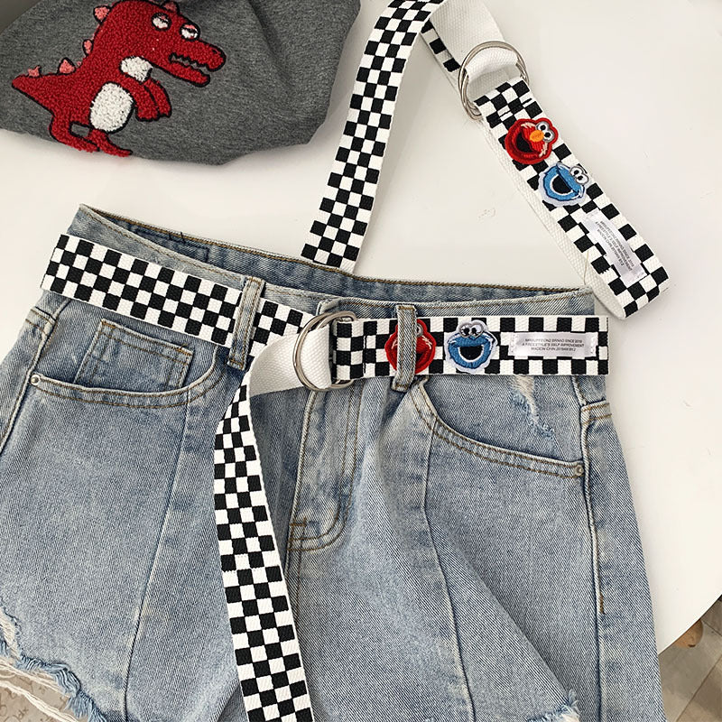 """CARTOON CHECKERS CANVAS"" BELT K092514"