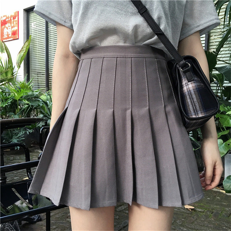 """WHITE/BLACK/GRAY HIGH WAIST"" PLEATED SKIRT K082903"