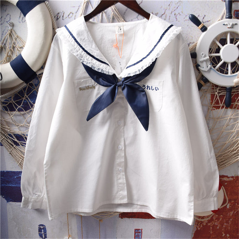 """SWEET NAVY COLLAR LACE BOW"" LONG SLEEVE SHIRT Y031707"