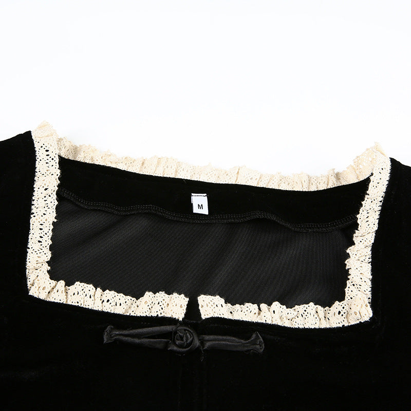 "[@rudskayadaria] ""BLACK RETRO VELVET LACE SQUARE COLLAR"" CROP TOP K111601REVIEW"