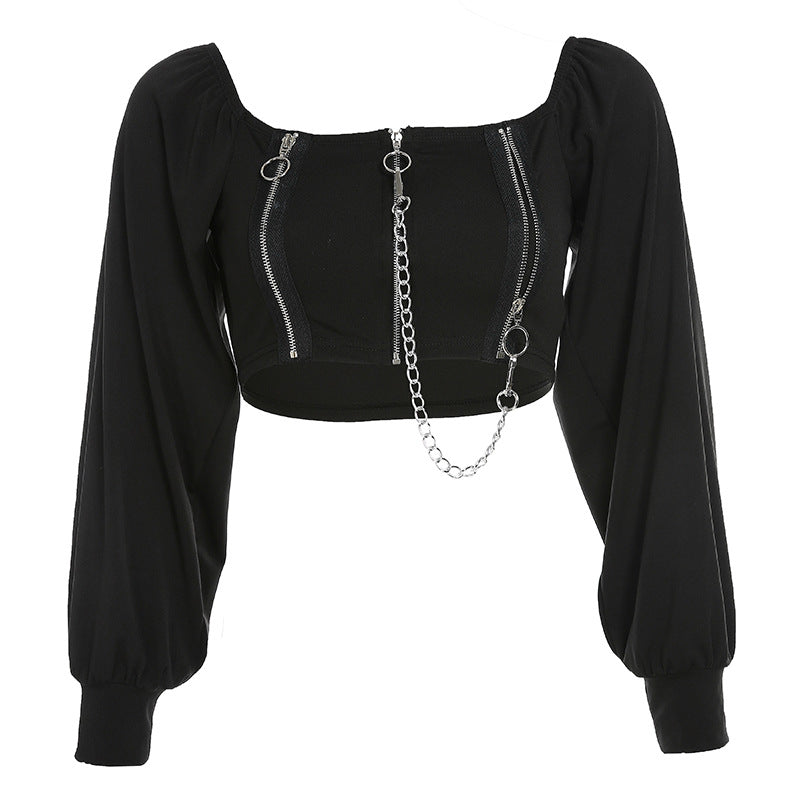 """DARK CHAIN SQUARE COLLAR PUFF SLEEVE"" TOP K111608"