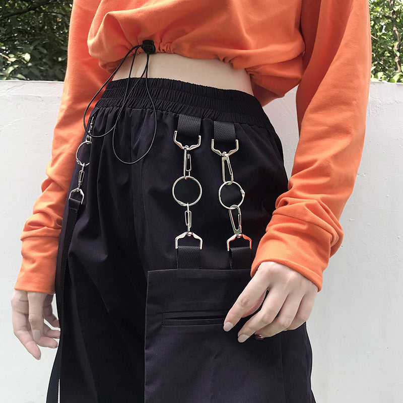 "[@kashimizavr] ""RED/BLACK CHAIN DETACHABLE BAG HIP HOP CASUAL"" PANTS K102609REVIEW"