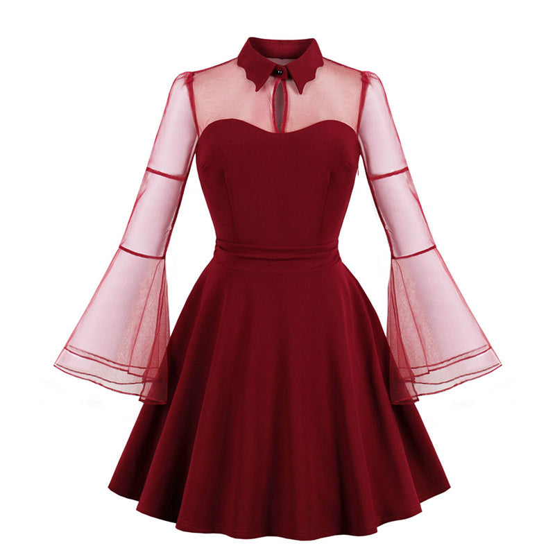 """S-4XL BLACK/WINE SEE-THROUGH FLARE SLEEVE"" DRESSES Y021608"