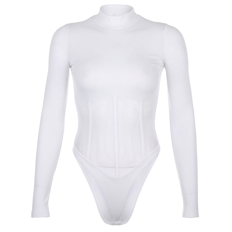 """SEXY MESH TURTLENECK"" LONG SLEEVE BODYSUIT Y021506"