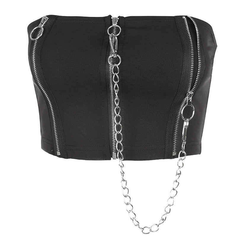 """ZIPPERED CHAIN SEXY"" TUBE TOP Y021407"