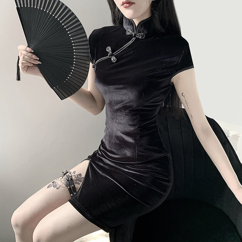 """DARK RETRO CHEONGSAM"" DRESS Y030301"