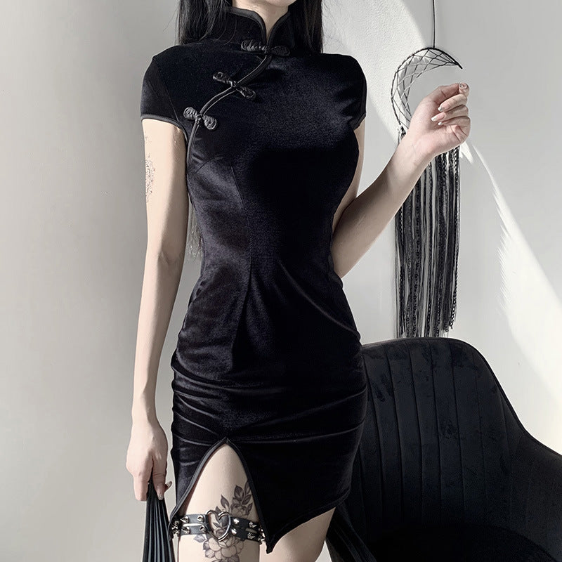 "[@stephanacism] ""DARK RETRO CHEONGSAM"" DRESS Y030301"