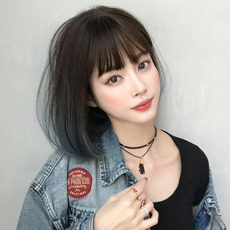 """GRADIENT BROWN BLUE SHORT STRAIGHT"" WIG H041906"