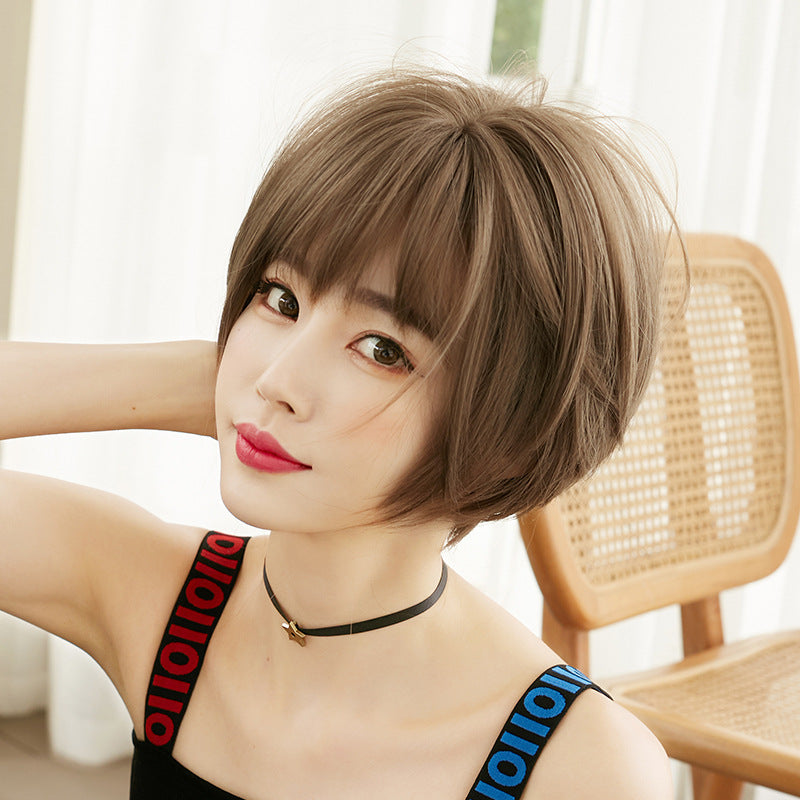"""BROWN SHORT STRAIGHT"" WIG H041908"