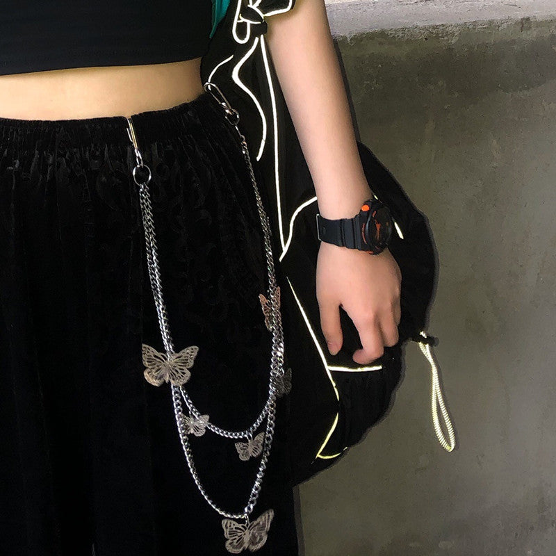 """STEREOSCOPIC BUTTERFLY"" BELT PANTS CHAIN D070402"