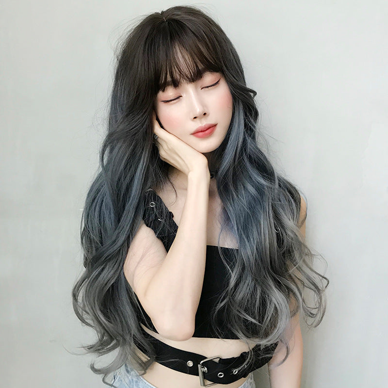 """AIR BANGS BLUE GRAY GRADIENT LONG CURLY"" WIG H041914"