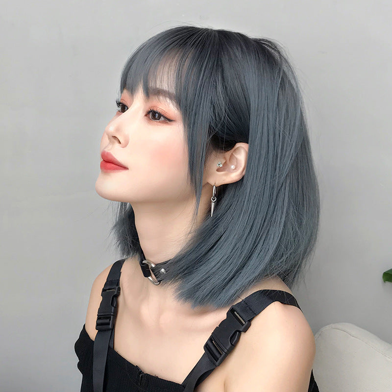 """GREY/BLACK/BROWN AIR BANGS SHORT"" WIG  H041902"