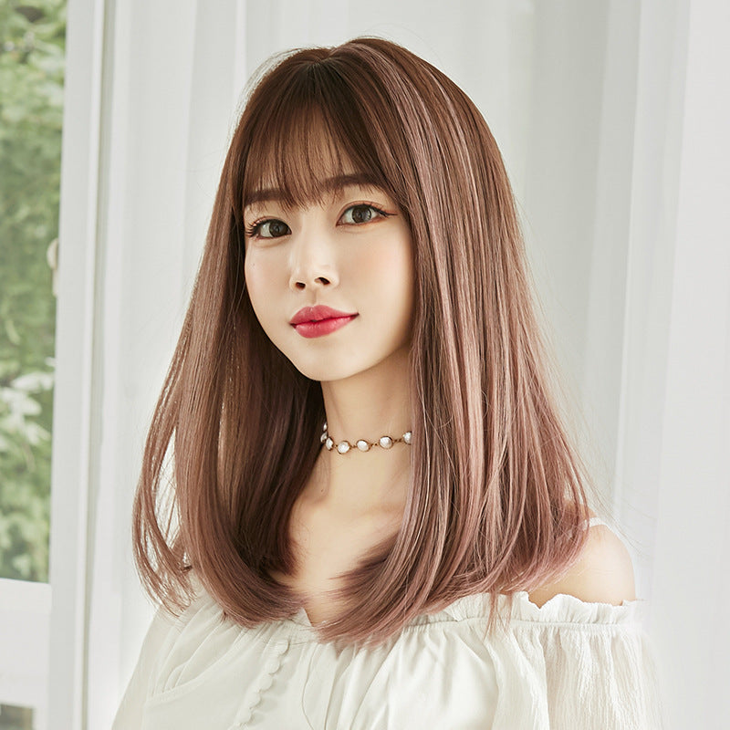 """BLUE/PINK BROWN GRADIENT LONG CURLY"" WIG H041905"