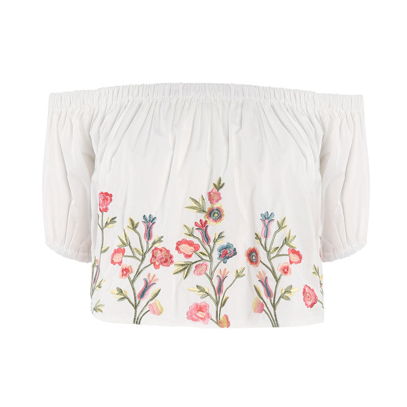 """FLOWER EMBROIDERY"" SWEET CROP TOP W010239"