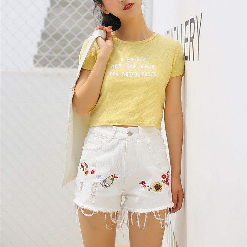 """EMBROIDERED SUNFLOWER FLORAL"" SHORT PANT K031505"