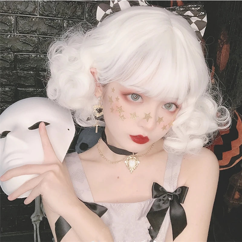 """WHITE LOLITA CURLY"" SHORT WIG D041506"