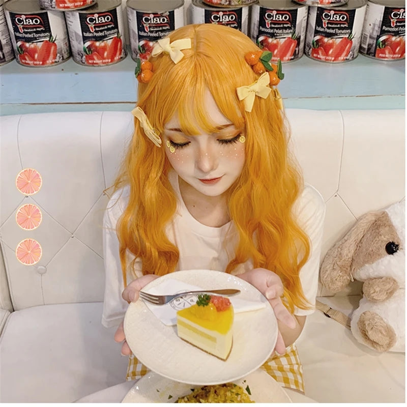 """ORANGE YELLOW LONG CURLY"" WIG D041512"