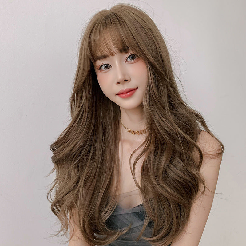 """BROWN AIR BANGS FLUFFY LONG CURLY"" WIG  H041903"