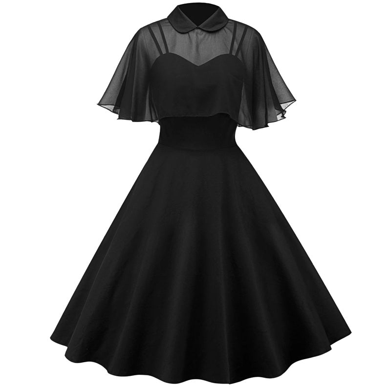 """4 COLORS ELEGANT PARTY CAPE"" DRESS Y021610"