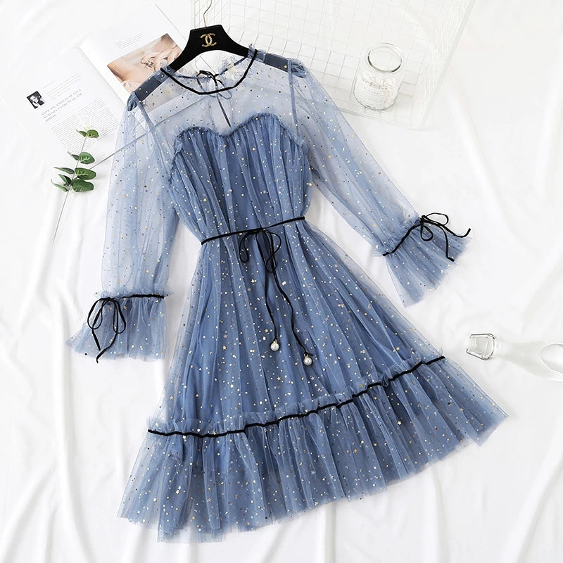 """5 COLORS FAIRY PAILLETTE LACE TULLE"" DRESS K082301"