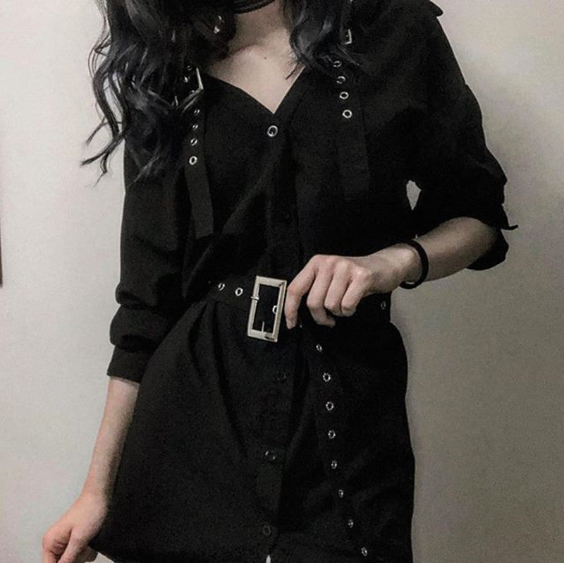 """BLACK GOTHIC OFF SHOULDER"" SHIRT DRESS K082201"