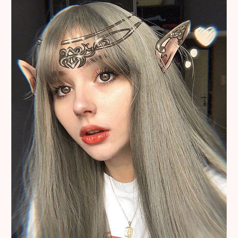 """LOLITA LINEN GRAY AIR BANGS"" WIG K082210"