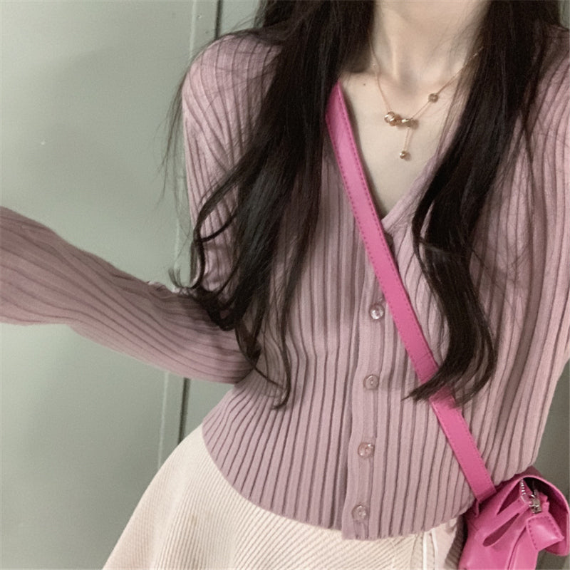 """6 COLOR STRIPED V-NECK STRETCH"" KNIT CARDIGAN Y010807"