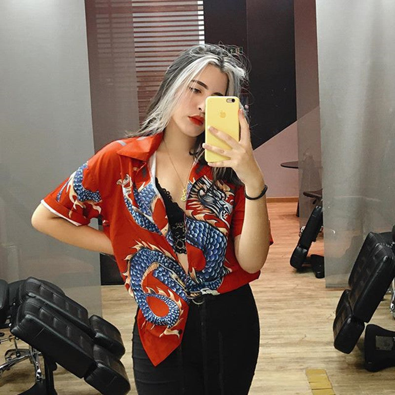 """RED / BLUE RETRO DRAGON PRINT"" SHIRT K082104"
