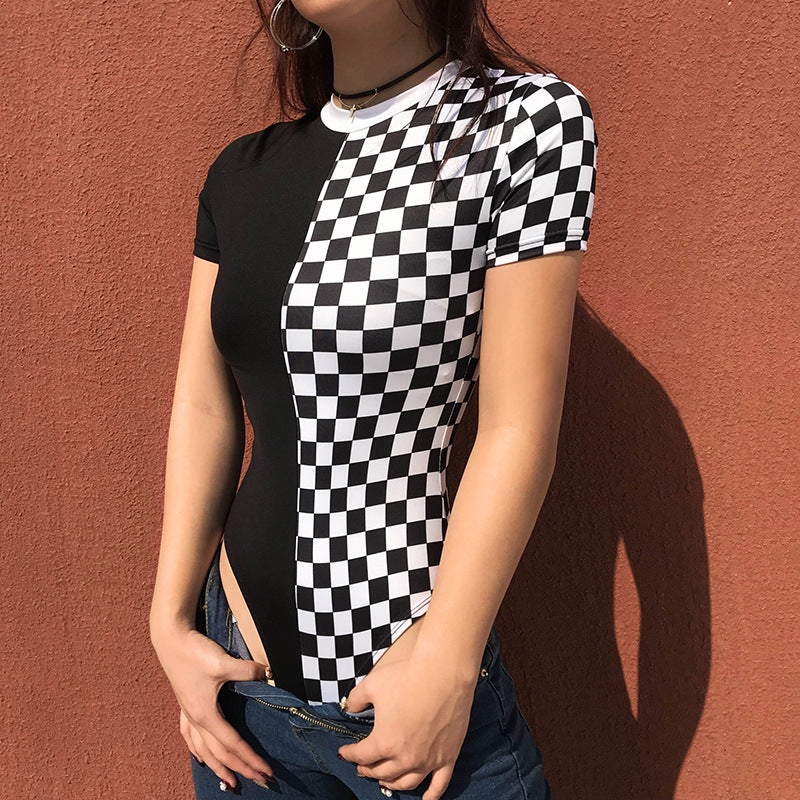 """CHECKERS BLACK AND WHITE CONTRAST"" SHORT-SLEEVED BODYSUIT K092510"