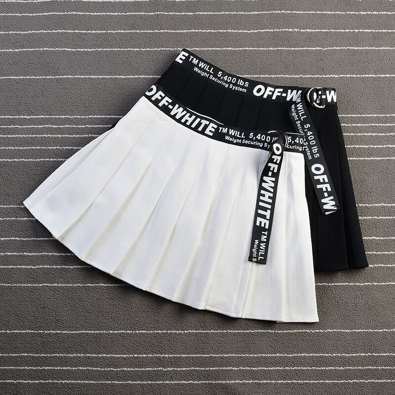 """DARK HIGH WAIST"" PLEATED SKIRT K052605"