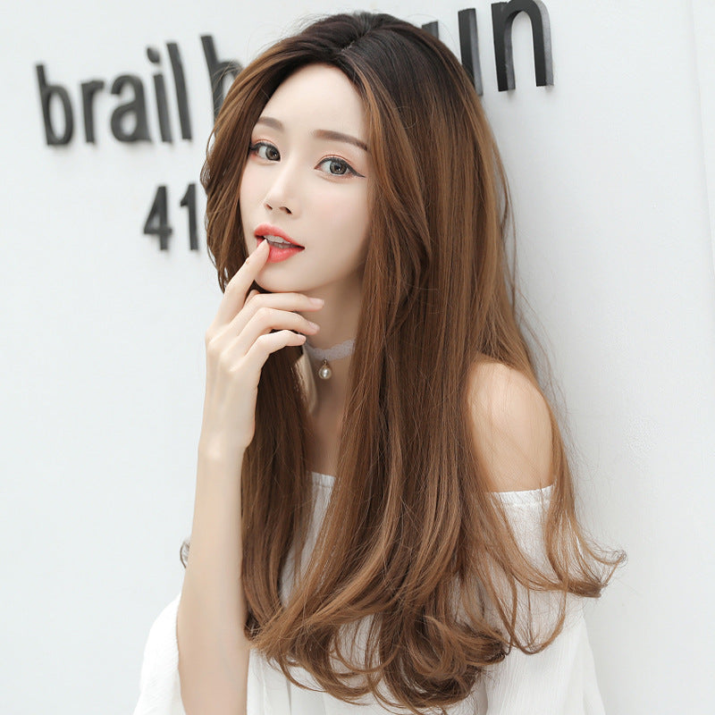 """THREE-COLOR TOP DYED BLACK LONG CURLY"" WIG H041912"