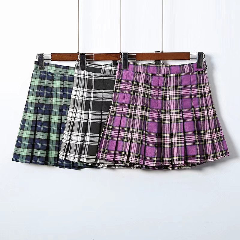 """RETRO PLAID"" HIGH WAIST SKIRT W010428"