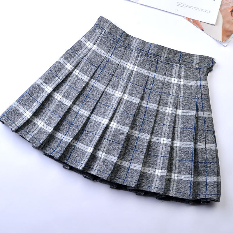"""9 COLORS PLAID"" PLEATED SKIRT  K112205"