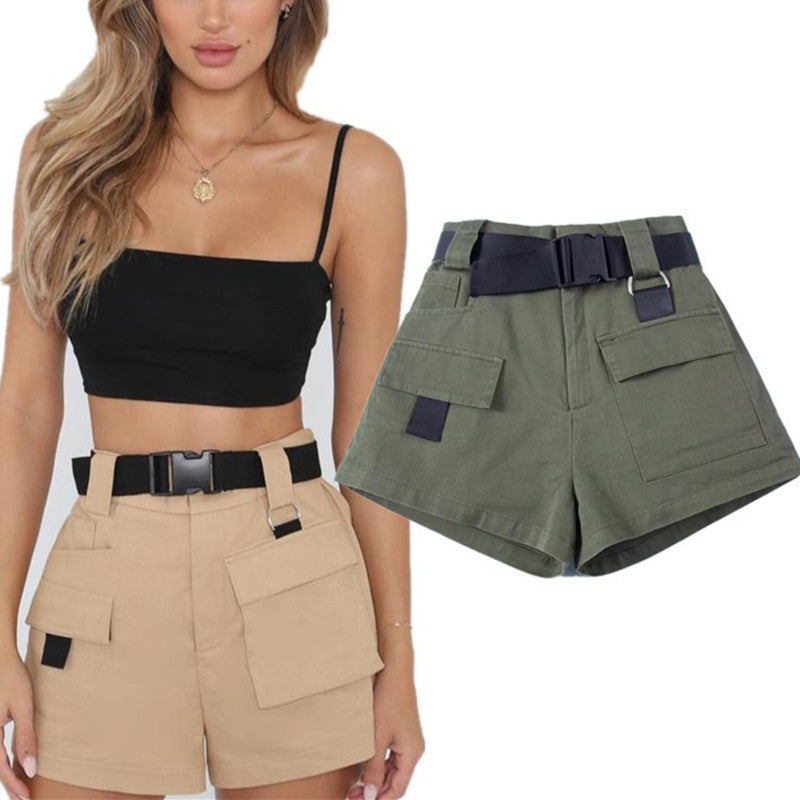 FASHION CASUAL OVERALLS SHORTS WITH BELT K070208