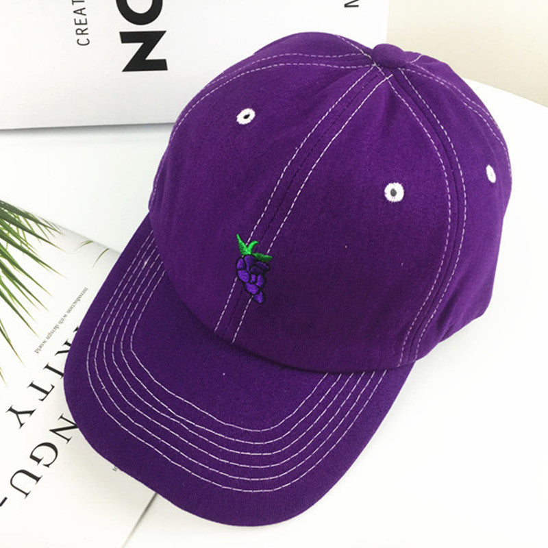 """AVOCADO BANANA GRAPE ORANGE EMBROIDERED"" BASEBALL CAP K040601"