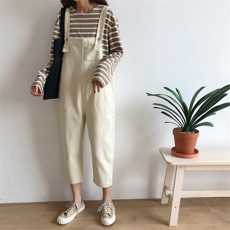 """BEIGE/BLACK DENIM"" OVERALLS K090701"