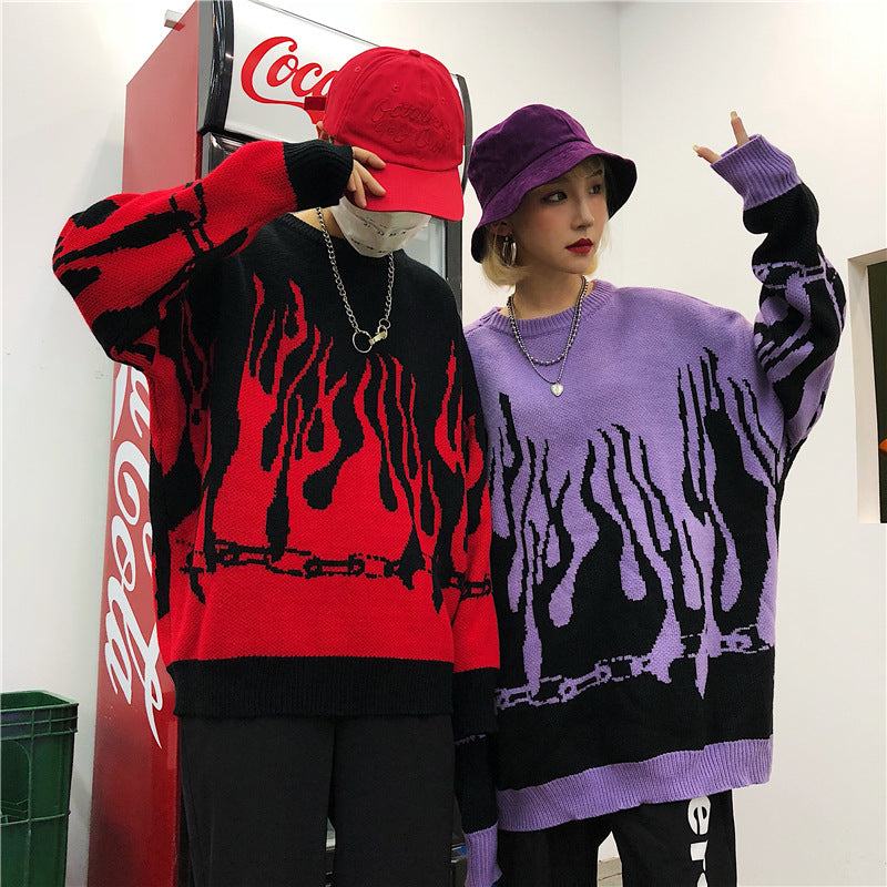 """FLAME RED PURPLE"" PULLOVER SWEATER K071310"