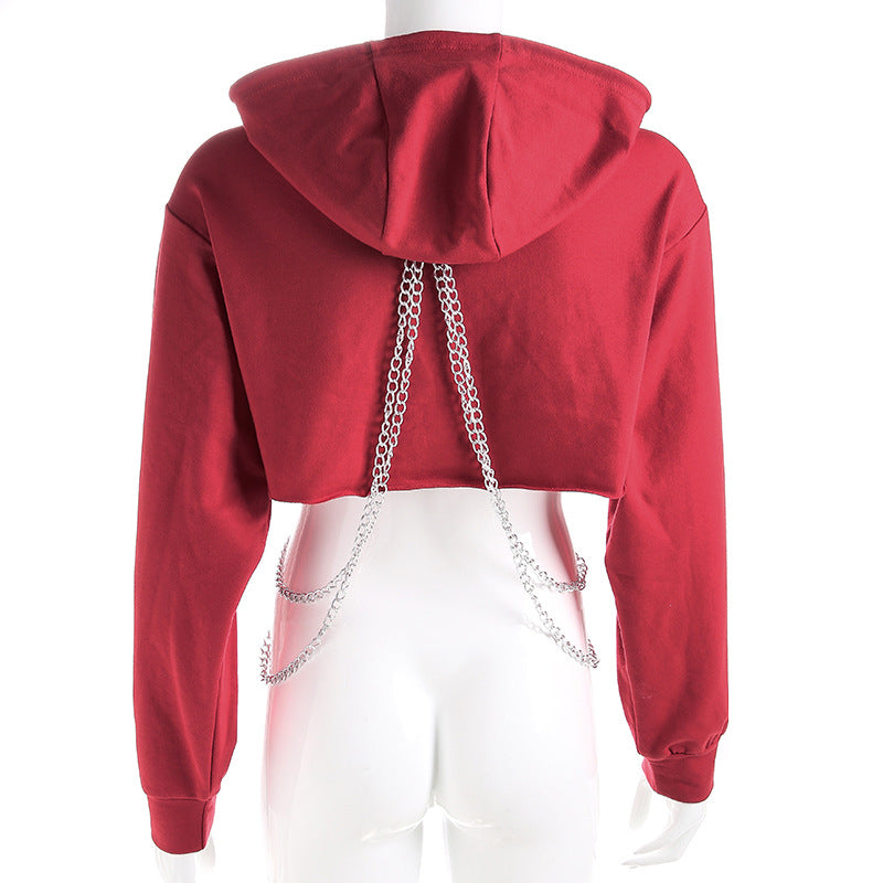 """RED/BLACK CHIC CHAIN LOOSE"" SHORT HOODIES K102616"