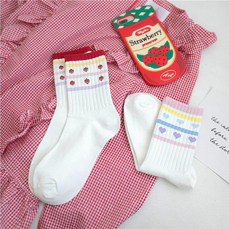 """STRAWBERRY / LOVE HEART"" COTTON SOCKS K111814"