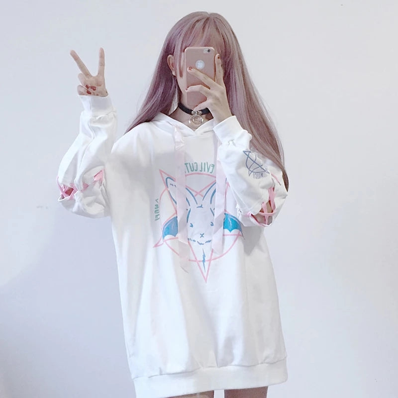 """BLACK/WHITE PASTEL DEMON BUNNY"" LONG HOODIE K082401"