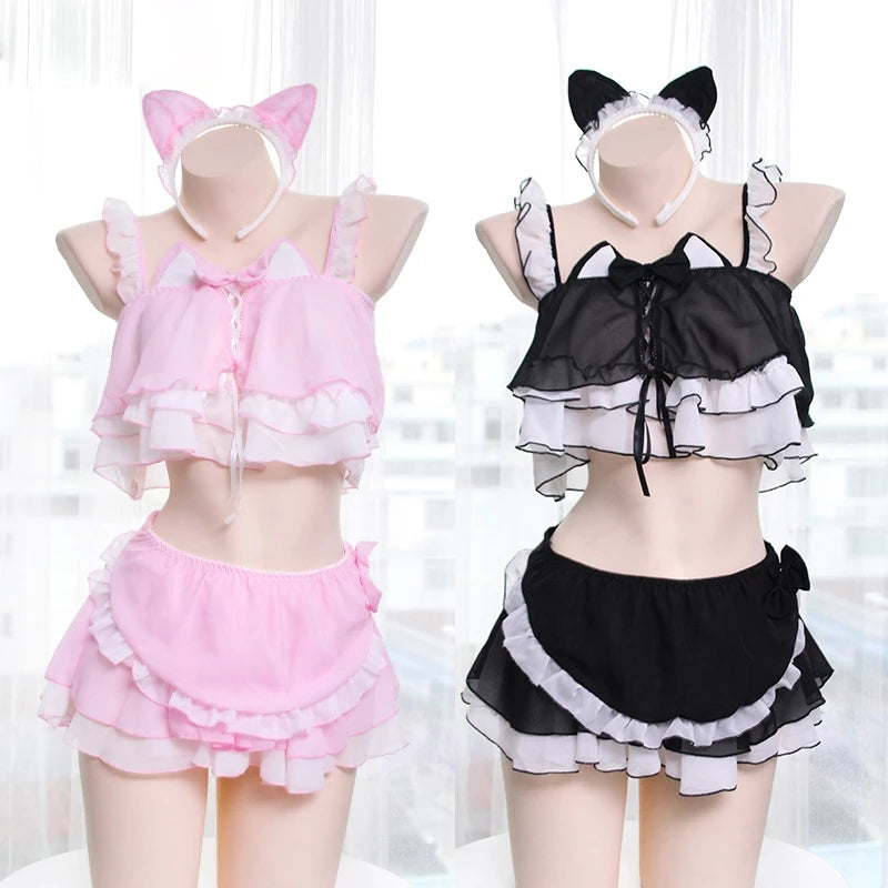 "[@_thiccachu_] ""BLACK/PINK CAT MAIDEN"" LINGERIE SUIT K092403REVIEW"