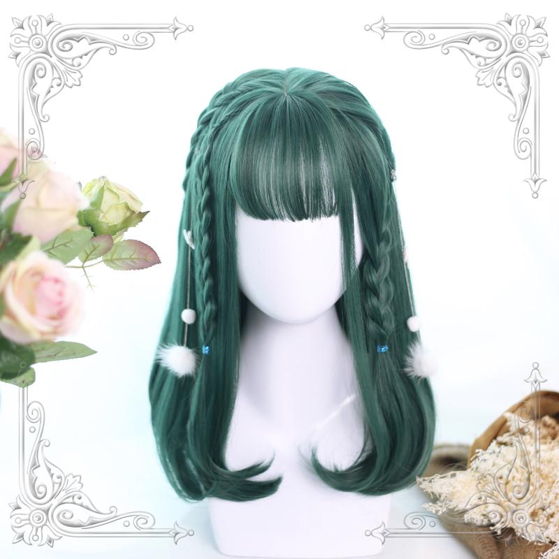 """LOLITA DARK GREEN"" MEDIUM LONG WIG K102307"