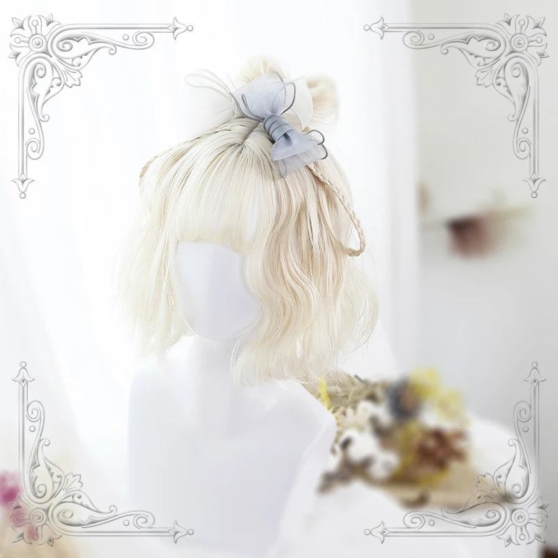 """LOLITA MILK WHITE AIR BANGS SHORT"" WIG Y020812"