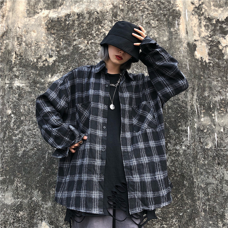 """KFASHION RETRO PLAID"" LONG SLEEVE SHIRT Y020704"