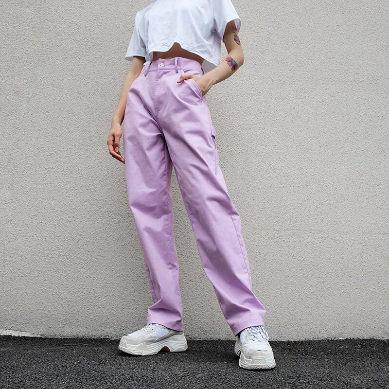 "[@ilkexvdb] ""PURPLE SIDE POCKET HIGH WAIST"" OVERALLS PANTS K050301REVIEW"