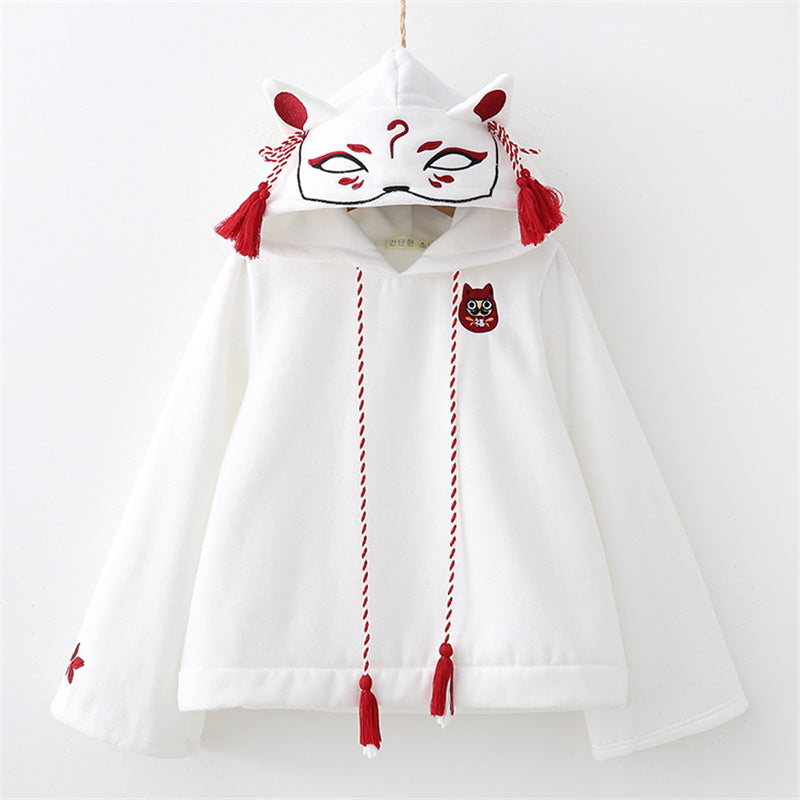 """WHITE/BLACK CUTE HARAJUKU FOX MASK FLEECES"" HOODIE K092108"