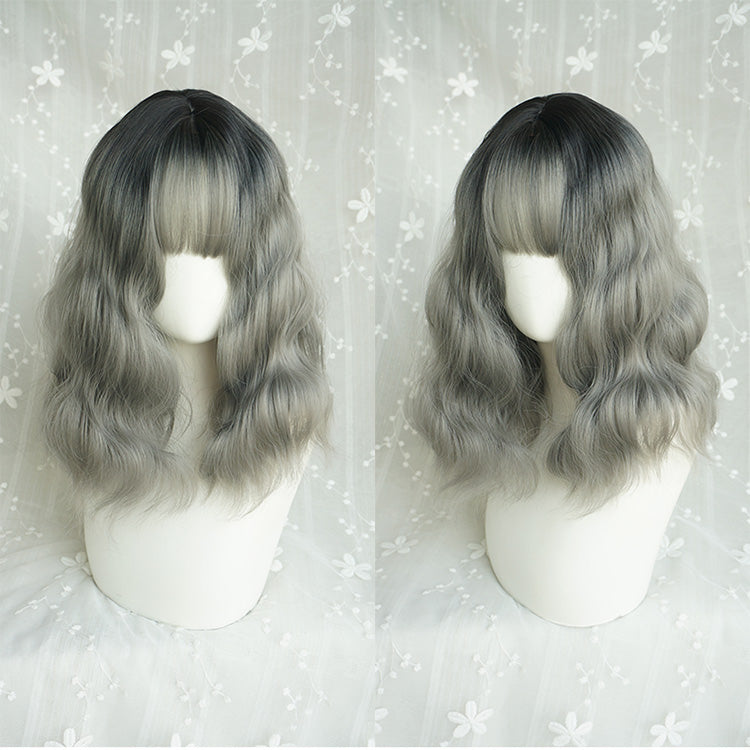 """BLACK GRAY GRADIENT MID-LENGTH CURLS"" WIG Y040403"
