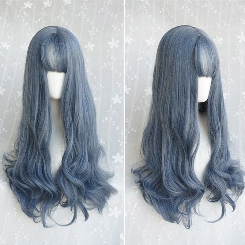 """BLUE GRAY LONG STRAIGHT FLUFFY"" NATURAL WIG K071706"
