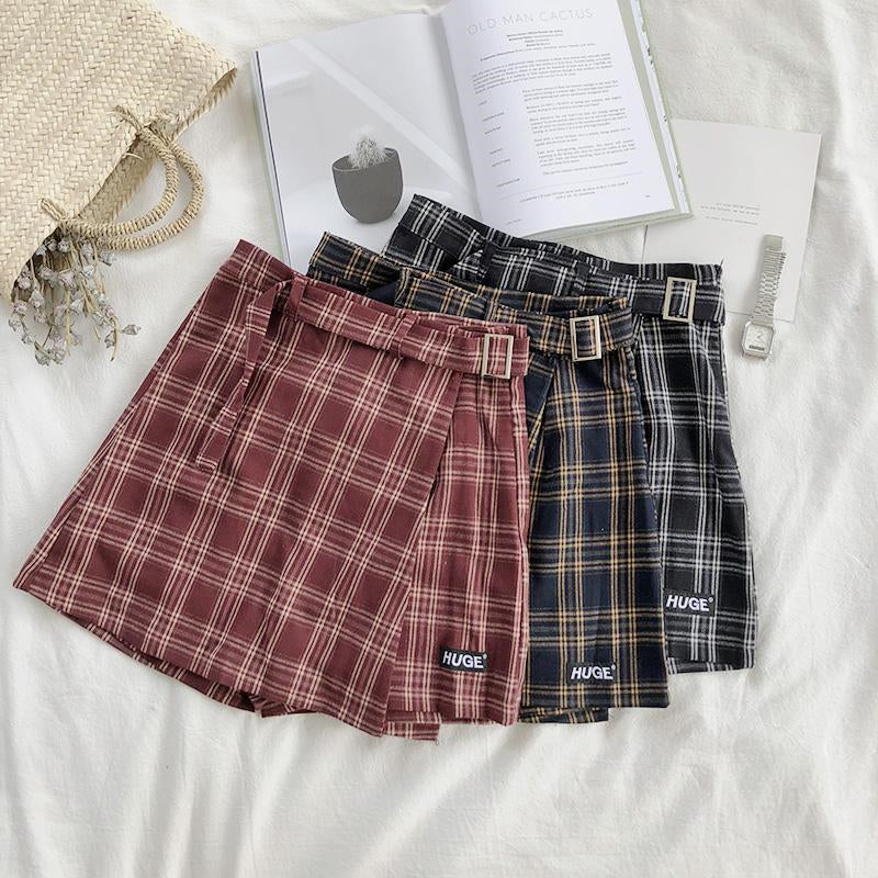 """HIDE"" PLAID SKIRT SHORT K022006"